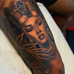 African Queen Tattoo, African Sleeve Tattoo, Egyptian Tattoo Sleeve, Egypt Tattoo, Sleeve Tattoos, Black Men Tattoos, Black People Tattoos, Dope Tattoos For Women, Black Girls With Tattoos