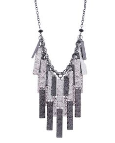 """16"""" Long Hammered Texture Multi Dangle Metal Necklace - JS3720-SILVER"""