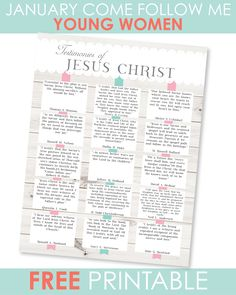 January Come Follow Me - FREE printable Young Women Handouts, Young Women Lessons, Lds Sunday School Lessons, Primary Lessons, Fhe Lessons, Lds Primary, Scripture Study, Family Scripture, Saints