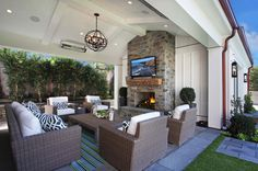 Covered Patio Fireplace - Design photos, ideas and inspiration. Amazing gallery of interior design and decorating ideas of Covered Patio Fireplace in decks/patios, porches by elite interior designers. Outdoor Seating, Outdoor Rooms, Outdoor Decor, Indoor Outdoor, Outdoor Umbrella, Outdoor Lounge, Outdoor Sectional, Living Pool, Outdoor Fireplace Designs
