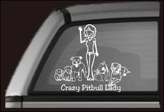 Crazy Pit Bull Lady   Vinyl Car Decal  7 inches by IgniteTheBark, $6.00