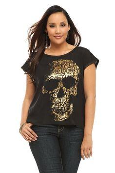 Black & Gold Skull Sleeveless Dolman Top