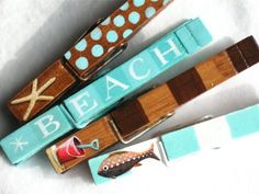 painted+magnets | AT THE BEACH hand painted magnetic clothespin set by SugarAndPaint, $ ...