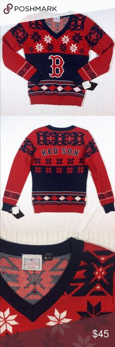 Boston Red Sox Ugly Sweater Team spirit and holiday spirit converge in this great sweater. New with tags. This sweater is quite soft and is thick enough to keep you warm. Make me an offer. Discount on bundles of two or more. Klew Sweaters V-Necks