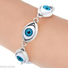 JP 1PC Silver Plated Blue Evil Eye Link Bracelets 17cm