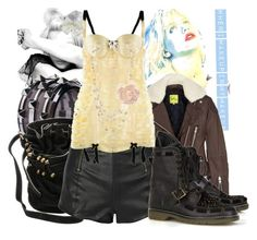 """""""My rock and roll days..."""" by thestrawberryfields ❤ liked on Polyvore featuring Burberry, Alexander Wang, Paul by Paul Smith, McQ by Alexander McQueen, Bordelle, See by Chloé, Miss Selfridge, leather shorts, bucket bag and stud boots"""