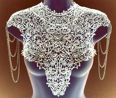 Steampunk lace WHITE bib detachable collar by WhiteLotusCouture, $99.00