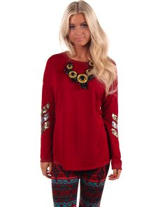 Lime Lush Boutique - Burgundy Knit Top with Sequin Elbow Detail, $38.99 (http://www.limelush.com/burgundy-knit-top-with-sequin-elbow-detail/)