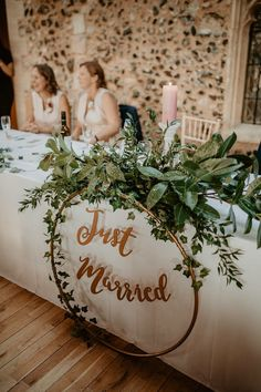 Top Table Flowers Greenery Foliage Hoop Just Married Sign Norwich Cathedral Wedding Camilla Andrea Photography Rustic Wedding Centerpieces, Diy Wedding Decorations, Halloween Decorations, Decor Wedding, Ceremony Decorations, Wedding Table Signs, Wedding Head Tables, Wedding Signing Table, Diy Decoration