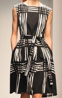 Marimekko Spring 2013 / lines, pattern, criss cross Fashion Fabric, Fashion Prints, Fashion Design, Looks Style, My Style, Mode Chic, White Fashion, Fashion Week, Look Cool