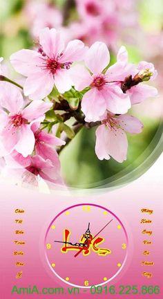 Tranh đồng hồ trang trí Tết hoa đào mùa Xuân TL26