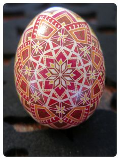 Ukrainian Egg, Pink, Orange and brown Flower   Pysanky.  Ukrainian Art form. Pysanka eggs.