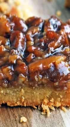 Pecan pie bars take the work out of traditional pecan pie with this easy bar adaptation. Pecan Desserts, Pecan Recipes, Bar Recipes, Just Desserts, Sweet Recipes, Baking Recipes, Cookie Recipes, Delicious Desserts, Dessert Recipes