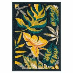 Equally at home on your patio or in the foyer, this Egyptian-made indoor/outdoor rug accents your decor with a tropical-inspired botanical motif.    Product: RugConstruction Material: PolypropyleneColor: Navy and multiFeatures: Made in EgyptSuitable for indoor and outdoor useNote: Please be aware that actual colors may vary from those shown on your screen. Accent rugs may also not show the entire pattern that the corresponding area rugs have.Cleaning and Care: Clean spills immediately by…