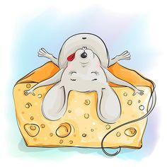 Illustration about Funny cartoon mouse sleeping on the cheese on a light background. Illustration of decoration, funny, holiday - 57351178 Animal Drawings, Cute Drawings, Drawing Cartoon Faces, Funny Mouse, Inkscape Tutorials, Mouse Crafts, Hamster, Turkish Art, Car Bumper Stickers