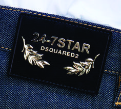 etiqueta de cintura para jeans con apliques metálicos Dsquared2 Garra, Teen Shorts, Denim Men, Leather Label, Fashion Tag, Hang Tags, Dsquared2, Buttons, Graphic Design