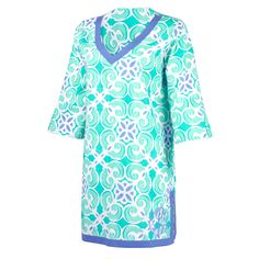 Monogrammed Beach Coverup Tunic Preppy Beach Sea Tile - The Palm Gifts
