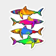 Colorful Sharks Sticker By Shrenk Design By Humans