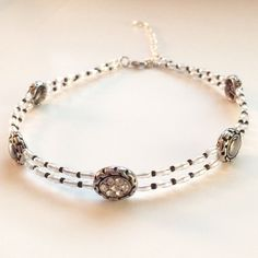 Black silver beaded choker necklace Black by BarbsBeadedJewelry
