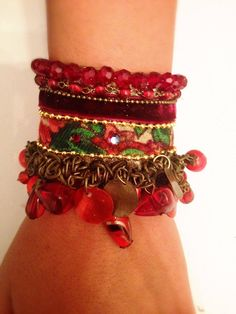 Bohemian Bracelet - red beads with antique plated elements, velvet burgundy and crystal maroon beads -closer;antique plated chain-hand made. by RachelGefenDesigns on Etsy https://www.etsy.com/il-en/listing/514350688/bohemian-bracelet-red-beads-with-antique