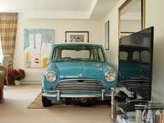 Morris Mini Cooper in the living room! Old Mini Cooper, Mini Cooper Classic, Cooper Car, Classic Mini, Classic Cars, Mini Copper, Mini Countryman, Morris Minor, Smart Car