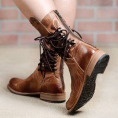 99ef491182f401 zapatos mujer sapato women mid-calf matin boots ladies chaussure girl  vintage PU leather booties shoes woman warm lace up