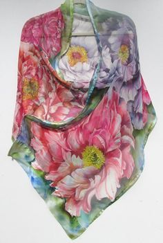PEONIES ON PARADE Silk Wrap by SilkSiren on Etsy