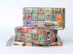 Vintage Postage Stamp Wrapping Paper / 12 Sheets