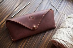 Leather glasses case, personalized glasses case, monogram glasses case sunglass case, case for glass Monogrammed Glasses, Personalised Glasses, Leather Glasses Case, Leather Case, Brown Leather, Retirement Gifts For Men, Simple Wallet, Free Monogram, Leather Conditioner
