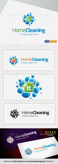 Home Cleaning Logo Design Template Vector #logotype Download it here: http://graphicriver.net/item/home-cleaning/14777399?s_rank=150?ref=nexion