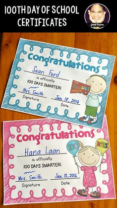 100th Day of School   100TH DAY OF SCHOOL CERTIFICATES  This 100th Day of School certificate pack is composed of eight ready-to-print pdf certificates.  Your students will be delighted to receive these certificates on their 100th day of school.  If you want more certificates and more value for your money, please check my resource Certificates.  100th day of school | 100th day | 100 days of school | 100 days