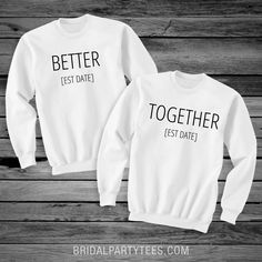 Customize matching couple shirts for any newlyweds that you might know! Add their wedding date and g Bff Shirts, Cheer Shirts, Cute Couple Shirts, Funny Shirts, Couple Clothes, Matching Hoodies For Couples, Matching Couple Outfits, Matching Shirts For Couples, Couple Style