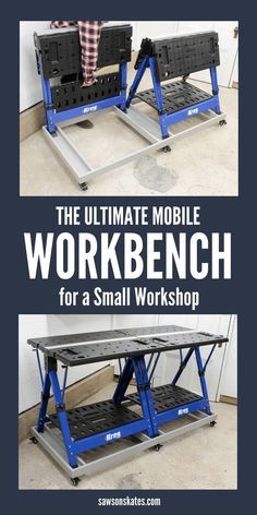 The Kreg Mobile Project Center is a workbench, an assembly table, a clamping station, it can be used as a sawhorse, and it folds flat for storage, so it's the perfect solution for a small workshop. But add a second Mobile Project Center and this easy to build DIY rolling base and you have the ULTIMATE WORKBENCH for a small workshop! Casters allow the base to move where you need it and lock to keep the workbench in place. Storage areas keep accessories close at hand. #workbench #smallworkshop…