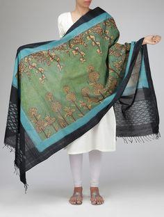 Kalamkari Cotton Dupatta Indian Dresses, Indian Outfits, Kalamkari Designs, Fabric Paint Designs, Recycled Dress, Mint Green Dress, Ethnic Chic, Elegant Saree, Saree Blouse Designs
