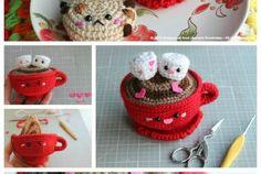 New Update Hot Chocolate San Valentine's Day Free Pattern Amigurumi Food Knit Crochet, Crochet Hats, Waterfall Jacket, Stylish Jackets, Plastic Canvas, Coats For Women, Hot Chocolate, Crocheting, Free Pattern