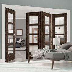 Four Folding Doors & Frame Kit - Calgary Flush Abachi Wood - Clear Glass - Prefinished Cheap Room Dividers, Decorative Room Dividers, Fabric Room Dividers, Portable Room Dividers, Wooden Room Dividers, Hanging Room Dividers, Folding Room Dividers, Folding Doors, Wall Dividers