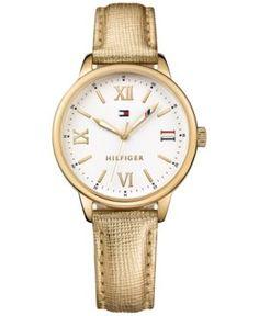Tommy Hilfiger Women's Metallic Gold Leather Strap Watch 36mm 1781721 - Gold