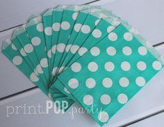 Set of 12 Aqua Polka