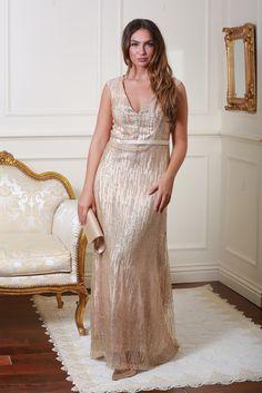 Rachel Gold Glitter Maxi Dress