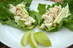 Apple cashew paleo chicken salad wrapped in lettuce leaves! The perfect summer lunch!