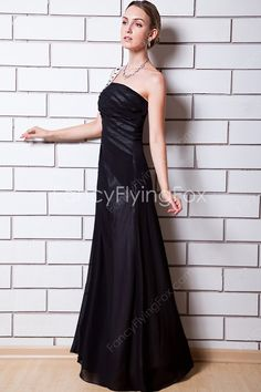 A-line Full Length Black Chiffon One Shoulder Prom Dresses With Ruched Bodice at fancyflyingfox.com