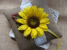 Wedding Ring Bearer Pillow - Ivory Sunflower on Natural Burlap - Country Wedding via Etsy
