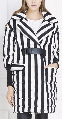 Striped Puffer Down Coat