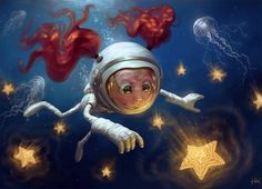 [image] Title: Deep Sky Name: Tiago Hoisel Country: Brazil Software: Photoshop I made this illustration as a gift to my wife and specially to my sister. To me, this Deep Sky it's a very near heaven that we can find … Character Illustration, Illustration Art, Art Quotidien, Digital Art Gallery, Photoshop, Original Wallpaper, Art Portfolio, Drawing, Fantasy Art