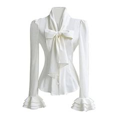PrettyGuide Women 50's Retro Silky Bow Tie Shirts Blouse: Amazon.ca:... (£48) ❤ liked on Polyvore featuring tops, blouses, shirt blouse, white shirt, retro blouses, shirt top and white top