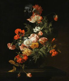 Simon Pietersz Verelst (1644-1710) — Still Life of Roses and Other Flowers in a Glass Bowl on a Stone Ledge (677x800)
