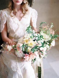 Romantic Vintage Inspired Bridal Bouquet // Photography ~ Rachel Solomon Photography