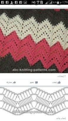 Best 8 Herringbone, Zig Zag Crochet Stitches for Free. Punto Zig Zag Crochet, Zig Zag Crochet Pattern, Crochet Motifs, Crochet Diagram, Crochet Stitches Patterns, Crochet Chart, Crochet Designs, Free Crochet, Bandeau Crochet