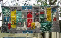 1950s townhouse print barkcloth fabric