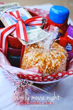 family movie night gift basket idea by www.nataliecreates.com